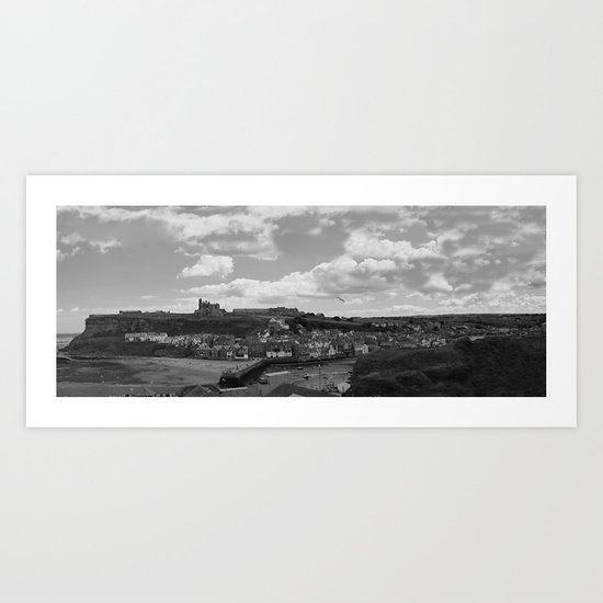 Monochrome version of a Whitby Harbour Panorama Art Print