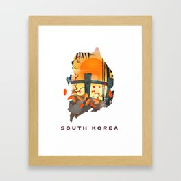 South Korea Map Framed Art Print