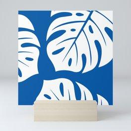 monster leaves royal blue Mini Art Print