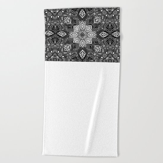 Gypsy Lace in White on Black Beach Towel