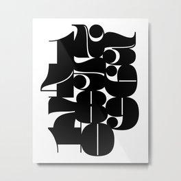 Numbers Black Metal Print