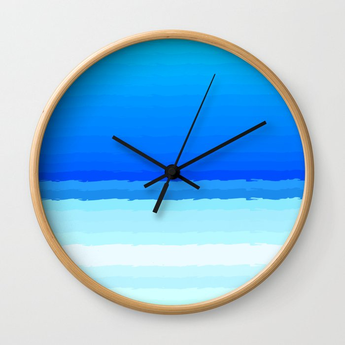 blue lines pattern shaded Wall Clock