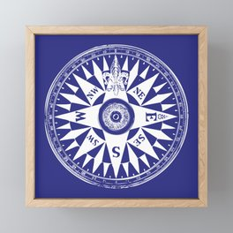 Nautical Compass | Navy Blue and White Framed Mini Art Print