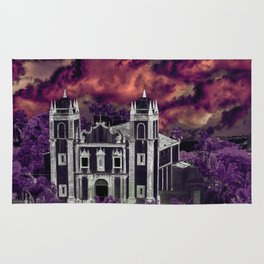 Fantasy Tropical Cityscape Aerial View Rug