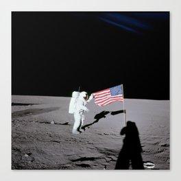 Apollo 12 - Astronaut American Flag Moon Canvas Print