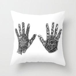 Hands of Contrast Throw Pillow