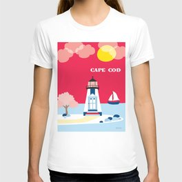 Cape Cod, Massachusetts - Skyline Illustration by Loose Petals T-shirt