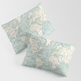 World Map in Blue and Cream Kissenbezug