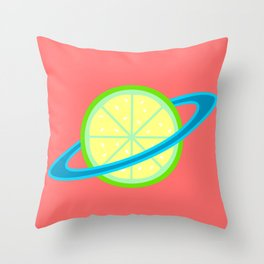 Planet Lime | Lime | Citrus | Fruit | Solar System | Planets | pulps of wood Throw Pillow