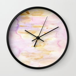 Modern Pink and Gold Watercolor Brush Strokes Wall Clock