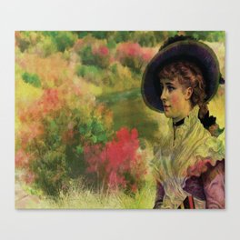 VINTAGE LADY IN THE COUNTRYSIDE Pop Art Canvas Print