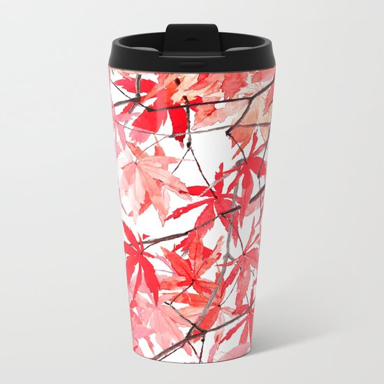 red orange maple leaves watercolor painting 2 Metal Travel Mug