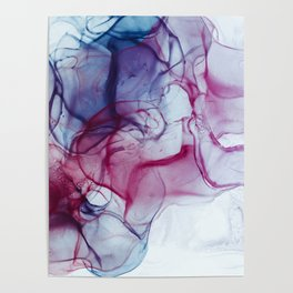 Alcohol Ink Abstract Wash Background. Mixing Blue Aqua Acrylic Paints Poster