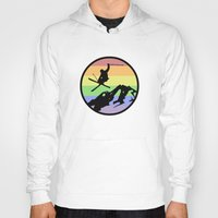 skiing Hoodies featuring skiing 2 by Paul Simms
