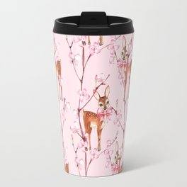 Cherry blossom and fawns Travel Mug