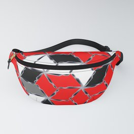 red white black grey cubes geometric 3d pattern Fanny Pack