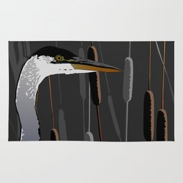 Great Blue Heron - Dark Background Rug