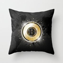 Bitcoin World Throw Pillow