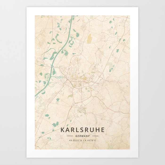 Karlsruhe Map Of Germany.Karlsruhe Germany Vintage Map Art Print By Designermapart