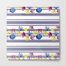 Cute Stripey Floral Pattern Metal Print