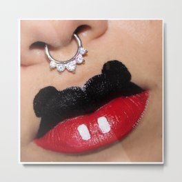 Mickey Mouse Lip Art  Metal Print
