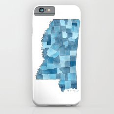 Mississippi Counties Blueprint watercolor map iPhone 6s Slim Case