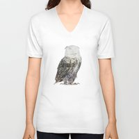andreas preis V-neck T-shirts featuring Arctic Owl by Andreas Lie