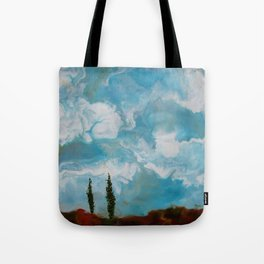 Cypress Trees encaustic wax painting by Seasons Kaz Sparks Tote Bag