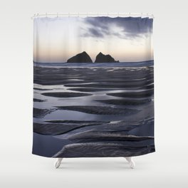 Gull Rock, Holywell Bay, Cornwall, England, United Kingdom Shower Curtain