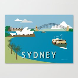 Sydney Harbour Retro Art Print Canvas Print