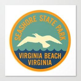 Seashore State Park Virginia Beach Camping Seagull Vintage Canvas Print