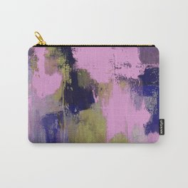Wild Lilac - Abstract, textured, lilac, purple, blue and yellow oil painted artwork Carry-All Pouch