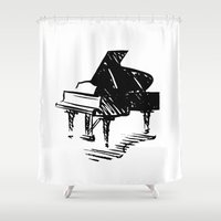 piano Shower Curtains featuring Piano by Azure Cricket