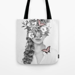 woman with flowers and butterflies 9a Tote Bag