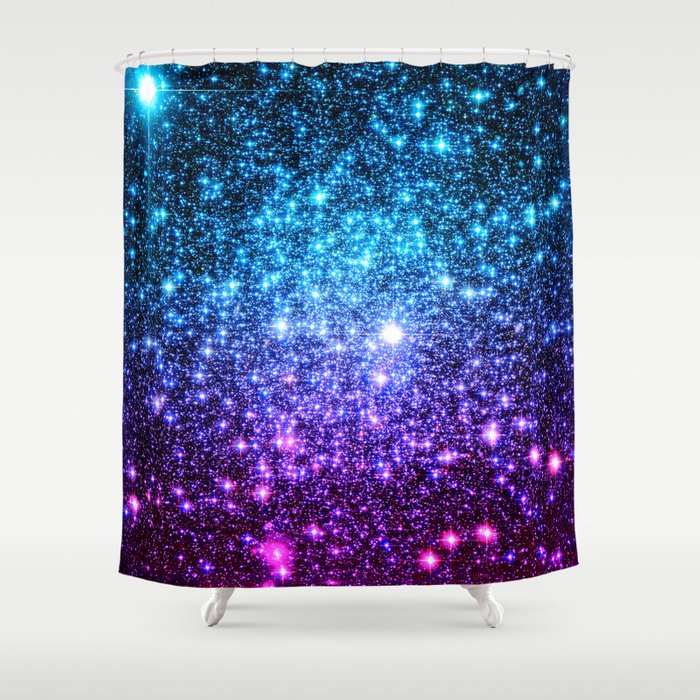 Glitter galaxy stars turquoise blue purple hot pink for Purple ombre shower curtain