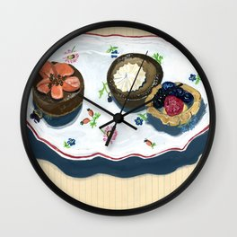 Pastries on a Plate in Gouache Wall Clock