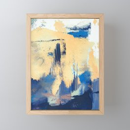 Lemon drop: a minimal, abstract mixed-media piece in yellow and blue Framed Mini Art Print