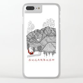 Sugarbush Vermont Serious Fun for Skiers- Zentangle Illustration Clear iPhone Case