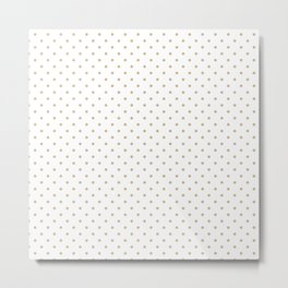 Christmas Gold Polka Dots on White Metal Print