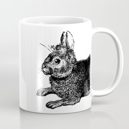 The Rabbit and Roses | Vintage Rabbit with Flower Crown | Rabbit Portrait | Bunny | Black and White Coffee Mug