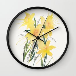 Daffodils Watercolor Art Wall Clock