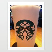 starbucks Art Prints featuring starbucks by vinny