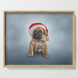 Drawing puppy Cane Corso in red hat of Santa Claus Serving Tray