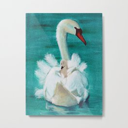 Swan mother Metal Print