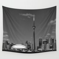 skyline Wall Tapestries featuring Toronto Skyline by Christophe Chiozzi