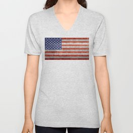 US Flag in Retro Grunge Unisex V-Neck