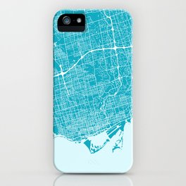 Toronto Map | Canada | Blue & Cyan | More Colors, Review My Collections iPhone Case