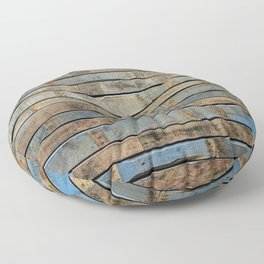 distressed wood wall - Blue and brown planks Floor Pillow