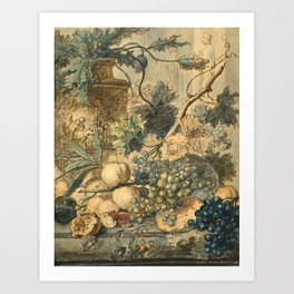 "Jan van Huysum ""Still life with flowers and fruits"" (drawing) Art Print"