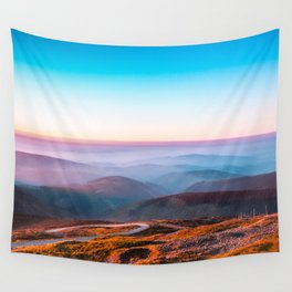 Purple Rolling Hills Sunset Landscape Wall Tapestry